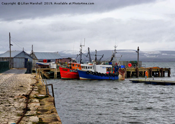 Cromarty Harbour.  Print by Lilian Marshall