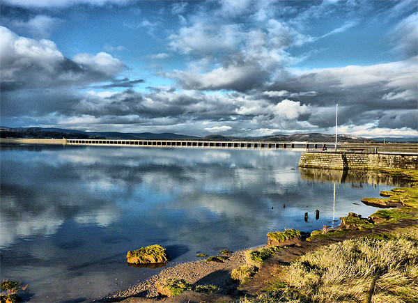 Kent Viaduct and Arnside Pier. Canvas print by Lilian Marshall