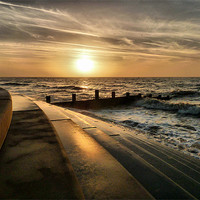 Buy canvas prints of Sunset at Cleveleys Lancashire. by Lilian Marshall