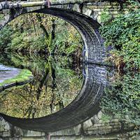 Buy canvas prints of Hebden Bridge Canal Reflections by Sandra Pledger