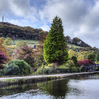 Buy canvas prints of Park and Canal at Hebden Bridge by Sandra Pledger
