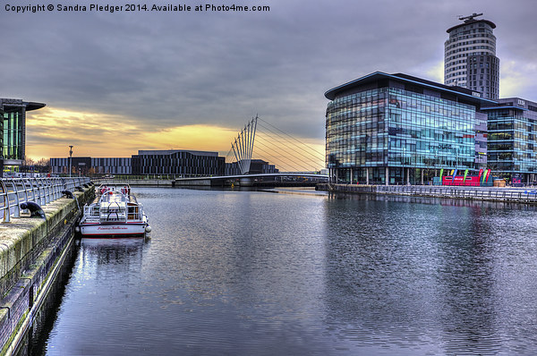 Salford Quays Sunset Canvas print by Sandra Pledger