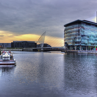 Buy canvas prints of Salford Quays Sunset by Sandra Pledger