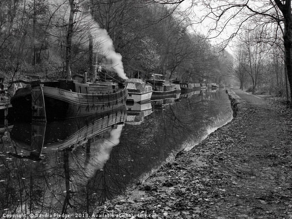 Hebden Bridge Narrow Boats Canvas print by Sandra Pledger
