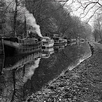 Buy canvas prints of Hebden Bridge Narrow Boats by Sandra Pledger