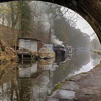 Buy canvas prints of A misty moisty morning in Hebden Bridge by Sandra Pledger