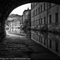 Buy canvas prints of Rochdale Canal at Hebden Bridge by Sandra Pledger