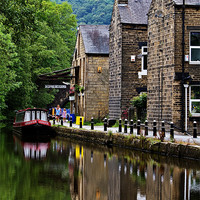 Buy canvas prints of Rochdale Canal Reflections by Sandra Pledger
