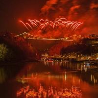 Buy canvas prints of  Bristols fireworks. by John Morgan