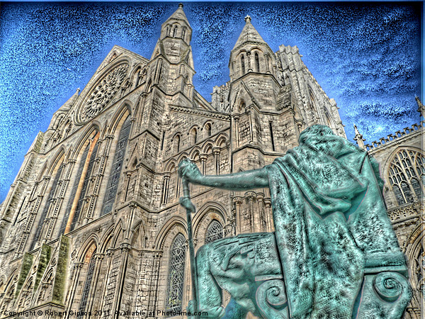 York Minster and King Constantine. Canvas print by Robert Gipson