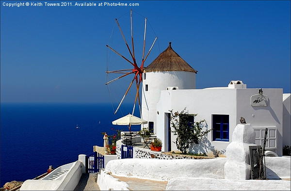 Oia Windmill, Santorini, Greece Framed Print by Keith Towers Canvases & Prints