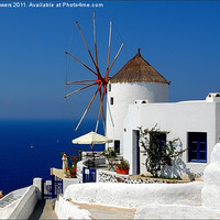 Buy canvas prints of Oia Windmill, Santorini, Greece by Keith Towers Canvases & Prints