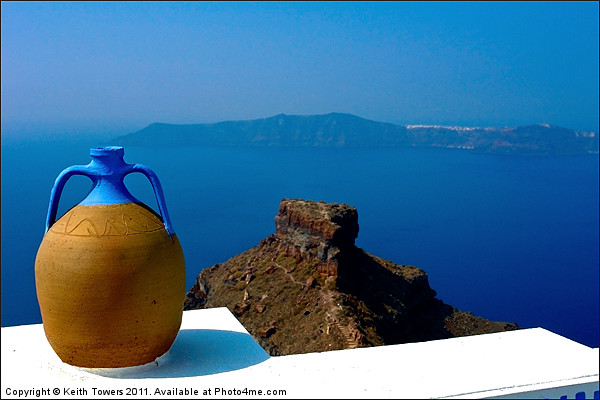 Terracotta Jar Santorini, Canvases & Prints Framed Print by Keith Towers Canvases & Prints