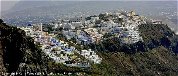 View over Fira, Santorini, Canvases & Prints Framed Print by Keith Towers Canvases & Prints