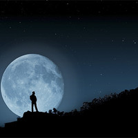 Buy canvas prints of The Man In The Moon by Steve Purnell