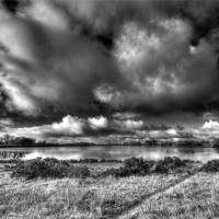 Buy canvas prints of Penyfan Pond in Monochrome by Steve Purnell