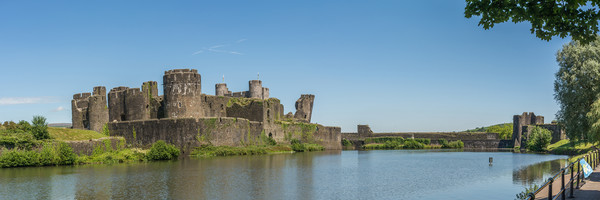 Caerphilly Castle Panorama South View Canvas print by Steve Purnell