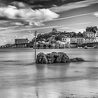Buy canvas prints of Tenby Harbour Long Exposure Mono 1 by Steve Purnell
