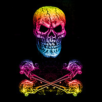 Buy canvas prints of Skull And Crossbones Rainbow by Steve Purnell