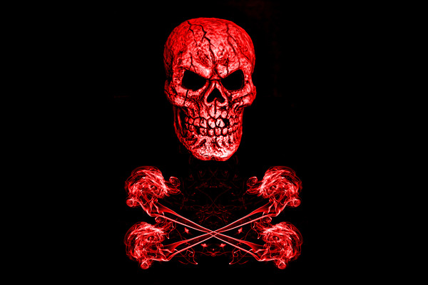 Skull And Crossbones Red Framed Print by Steve Purnell