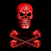 Buy canvas prints of Skull And Crossbones Red by Steve Purnell