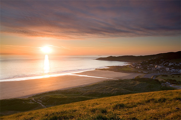 Sunset Woolacombe Beach Canvas print by Andrew Wheatley