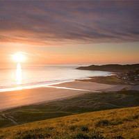 Buy canvas prints of Sunset Woolacombe Beach by Andrew Wheatley
