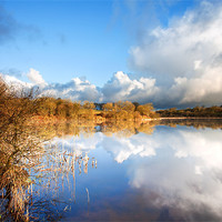 Buy canvas prints of Rain Clouds Over Lower Tamar Lake by Andrew Wheatley