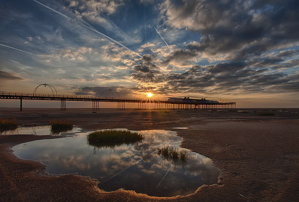 Southport Pier at Sunset Print by Roger Green