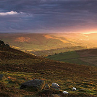 Buy canvas prints of Hope Valley Sunset by Richard Peck