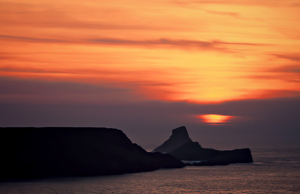 Sunset at Worms Head. Canvas print by Becky Dix