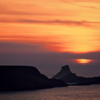 Buy canvas prints of Sunset at Worms Head. by Becky Dix