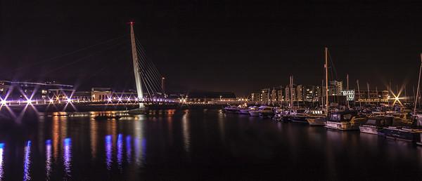 Swansea Sail Bridge at Night. Canvas print by Becky Dix