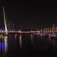 Buy canvas prints of  Swansea Sail Bridge at Night. by Becky Dix