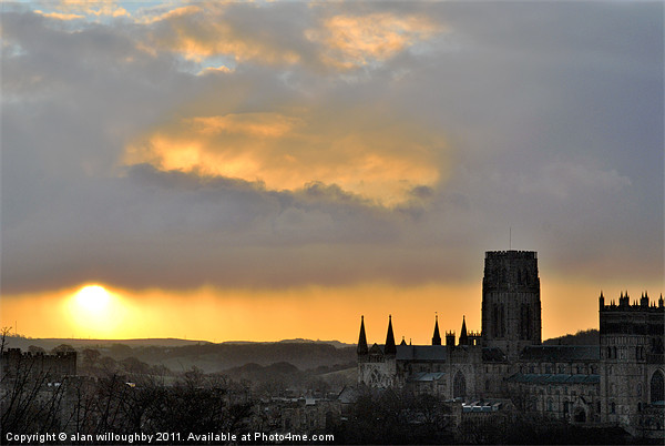 Sunrise over Durham Cathedral Canvas print by alan willoughby