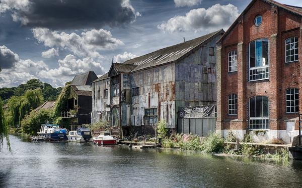 Waterfront, Norwich Canvas Print by Rus Ki