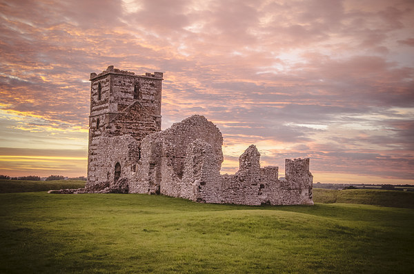 Knowlton Church at sunset Canvas print by Kelvin Futcher 2DFaced Photography