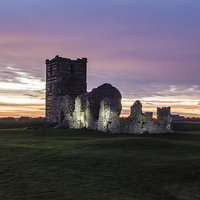 Buy canvas prints of Knowlton Church at sunset illuminated by Kelvin Futcher 2DFaced Photography