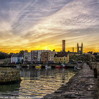 Buy canvas prints of St Andrews Harbour after sunset by Corinne Mills