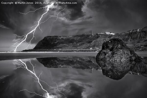 Lightning over Scarborough Framed Mounted Print by Martin Jones