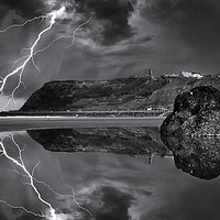 Buy canvas prints of Lightning over Scarborough by Martin Jones