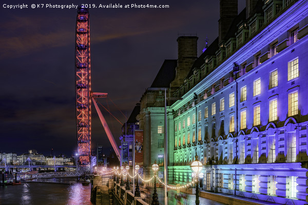 County Hall and the London Eye Canvas print by K7 Photography