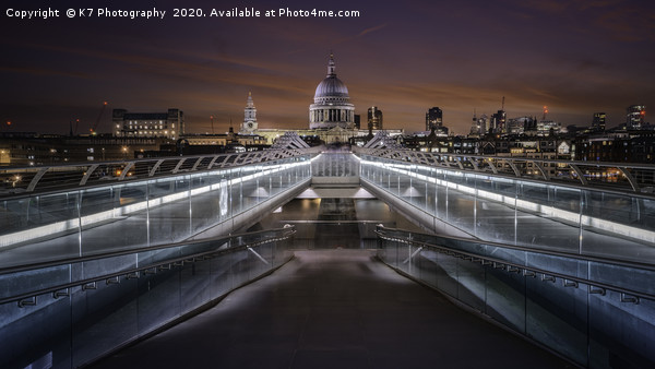 Over the Millennium Bridge to St Pauls Cathedral Canvas print by K7 Photography
