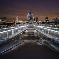 Buy canvas prints of Over the Millennium Bridge to St Pauls Cathedral by K7 Photography