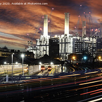 Buy canvas prints of Light Trails From The Trains at Battersea, London, by K7 Photography