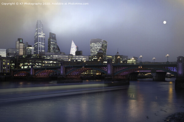 Misty Dawn over the Thames at Southwark Bridge. Acrylic by K7 Photography