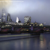 Buy canvas prints of Misty Dawn over the Thames at Southwark Bridge. by K7 Photography