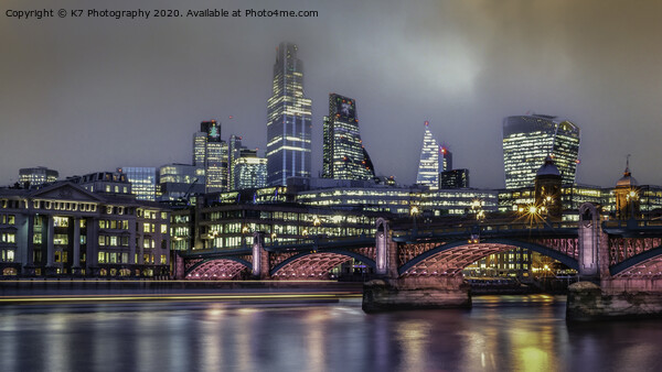 Light Trails on the river Thames, Southwark Bridge Acrylic by K7 Photography