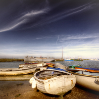 Buy canvas prints of Rowing Boats at Tollesbury by Nigel Bangert