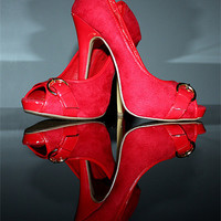 Buy canvas prints of Red stiletto high heeled Shoes by Terri Waters